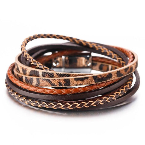 Amorcome Leopard Bracelets for Women Jewelry 2019 Handmade Braid Ladies Multilayer Wrap Leather Bracelet-DooMahickeys-Gold-color-DooMahickeys