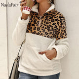Nadafair Leopard Patchwork Plus Size Fluffy Sweatshirt Women Zip Fleece Casual Oversized Hoodie Winter Pullover Hoody Ladies-DooMahickeys-White-S-DooMahickeys