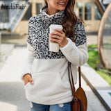 Nadafair Leopard Patchwork Plus Size Fluffy Sweatshirt Women Zip Fleece Casual Oversized Hoodie Winter Pullover Hoody Ladies-DooMahickeys-Gray-S-DooMahickeys