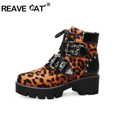 REAVE CAT Chunky Heels Leopard Lace Up Booties-Leopard Collection-DooMahickeys-DooMahickeys