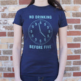 No Drinking Before Five T-Shirt (Ladies)-Ladies T-Shirt-DooMahickeys