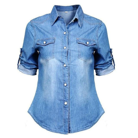 New Women Denim Blouses Vintage Long Cuffs Sleeve Washed Female Denim Coat Shirts Blouse Lady Classic Lapel Tops Tees Jacket-DooMahickeys-Dark blue-5XL-DooMahickeys