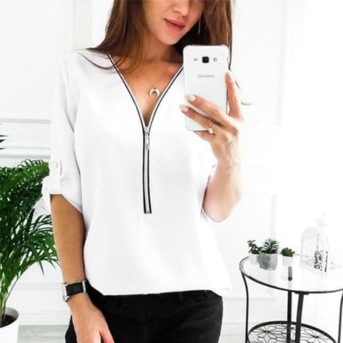 Zipper Short Sleeve Women Shirts Sexy V Neck Solid Womens Tops And Blouses Casual Tee Shirts Tops Female Clothes Plus Size 5XL-DooMahickeys-White-XXL-DooMahickeys