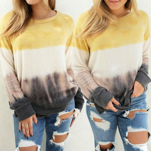 New Women Long Sleeve Gradient Stripe Print Multi-Colored Sweatshirt Casual Soft Oversize Jumper Pullover Winter Warm Loose-DooMahickeys-DooMahickeys