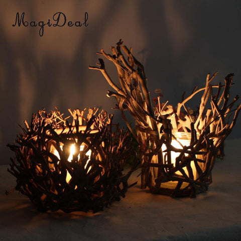 MagiDeal Country Style Rustic Wooden Tea Light Candle Holder Decorative Candle Lamp with Glass Candle Cup for Home Wedding Decor-DooMahickeys-DooMahickeys