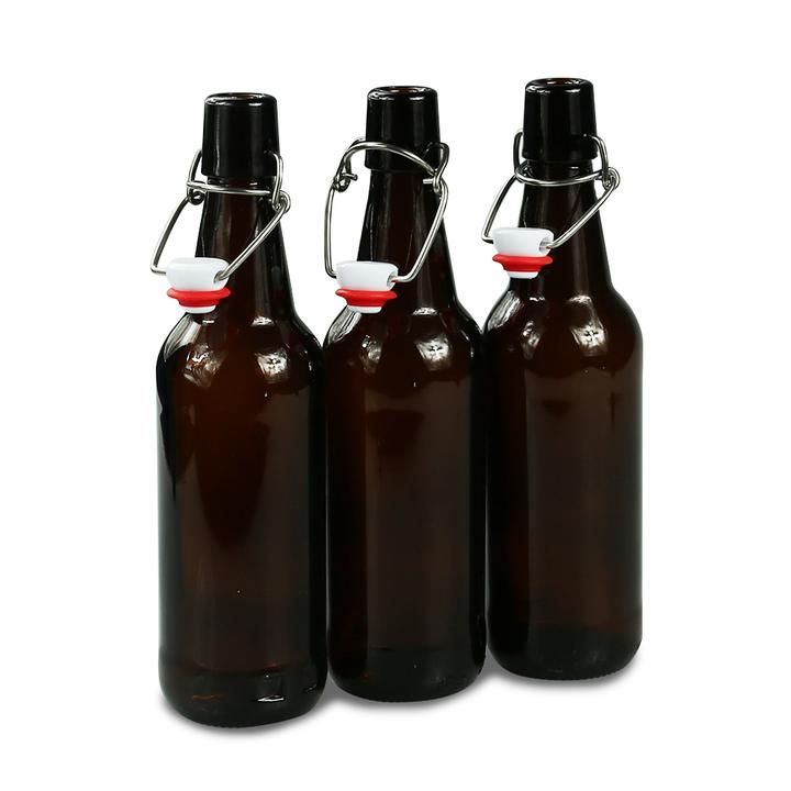 Amber Glass Swing Top Bottles 500ml 15's