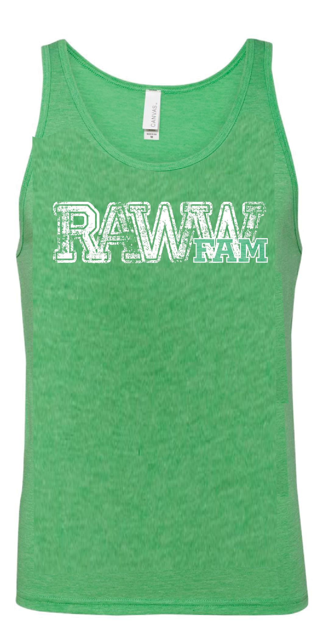 RawwFamm Adult Triblend Green Tank Top
