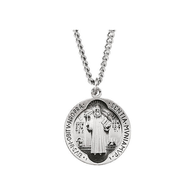 Sterling Silver St Benedict Round Medal Pendant Necklace