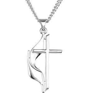 Sterling Silver Methodist Cross Flame