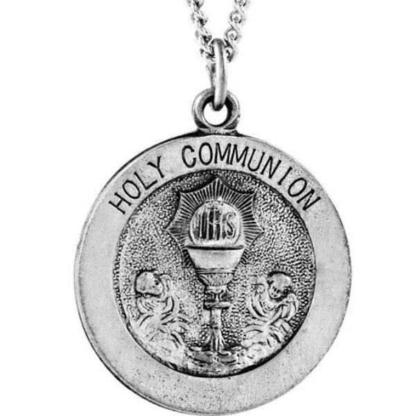 Round Holy Communion Necklace in Solid Sterling Silver