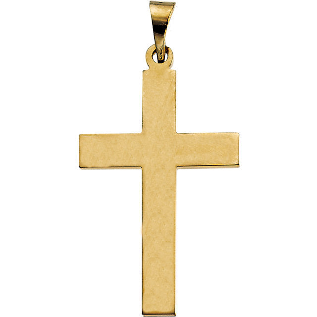 Elegant Christian Cross in Solid 14 Karat Yellow Gold