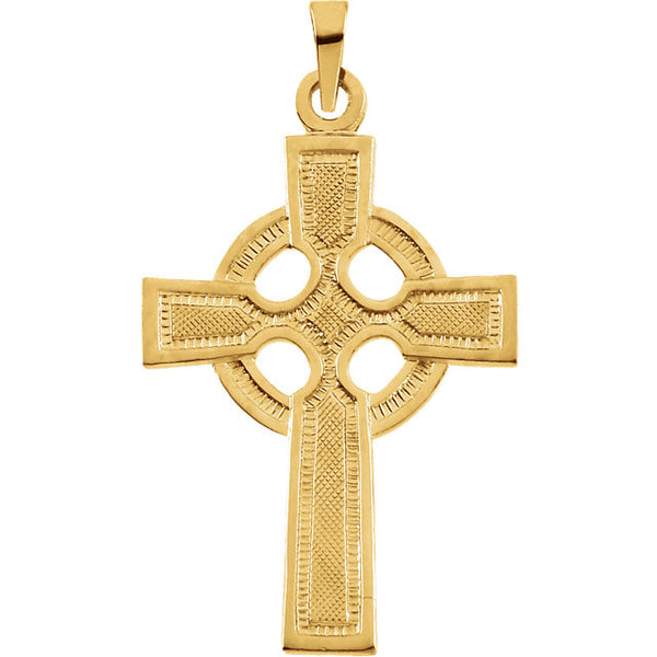 Celtic Cross Pendant in Solid 14 Karat Yellow Gold