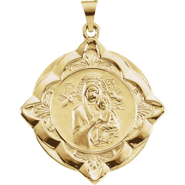 Our Lady of Perpetual Help Fancy Medal Pendant in 14 Karat Yellow 31 MM