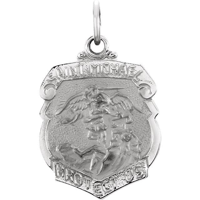 Saint Michael Shield Badge Pendant in Solid 14 Karat White Gold Protect Us Medal 27 x 21 MM