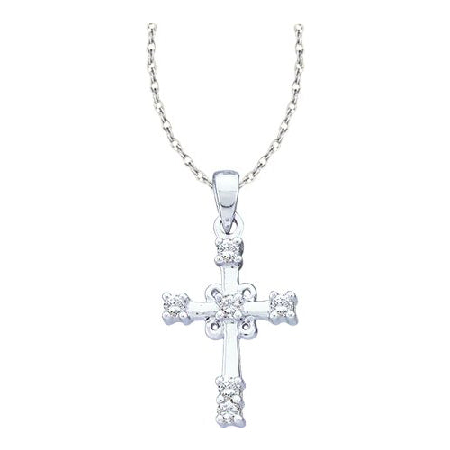 10kt White Gold Diamond Cross With Chain