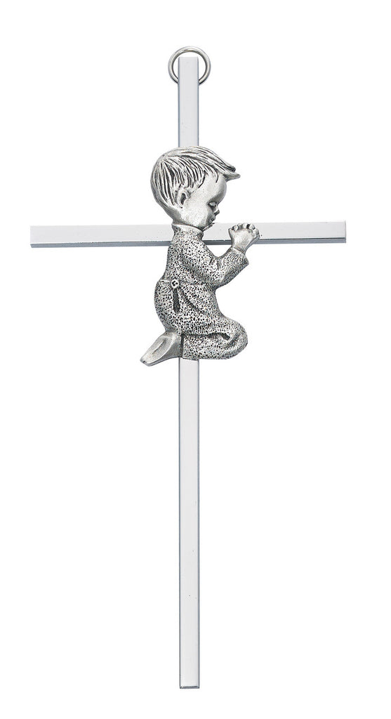 Praying Boy Baby Wall Cross Aluminum 6 Inches