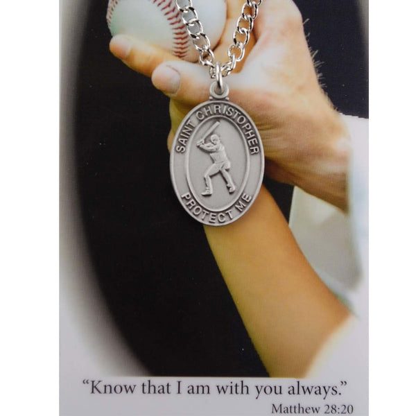 St Christopher Baseball Medal Necklace Prayer Card Set Flat Edge Oval Design