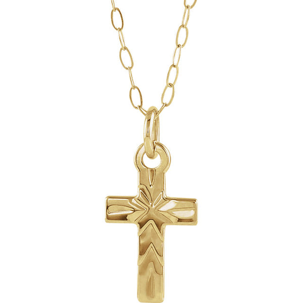 Youth Sunburst Design Cross Pendant in 14 Karat Yellow Gold