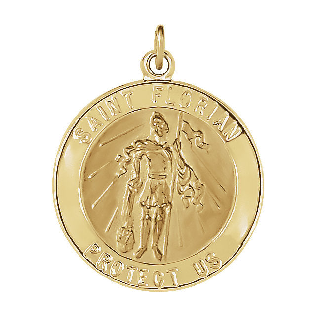 Round St Florian Pendant in Solid 14 Karat Yellow Gold Protect Us Medal