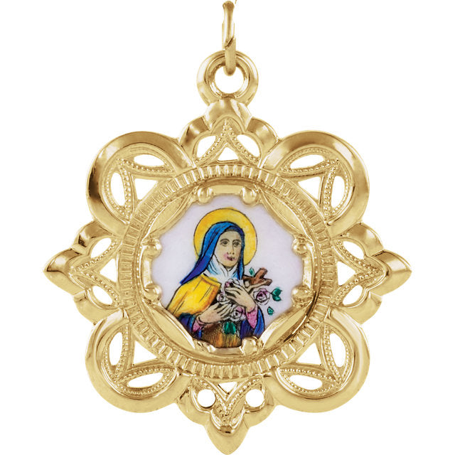 Elegant Saint Theresa Crown Enamel Pendant in Solid 10 Karat Yellow Gold 25 MM