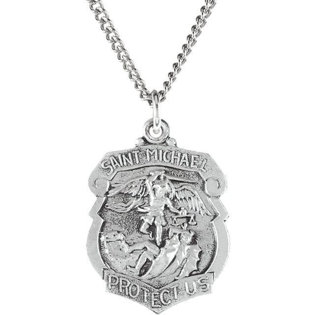 Saint Michael Shield Badge Necklace in Solid Sterling Silver Protect Us Medal