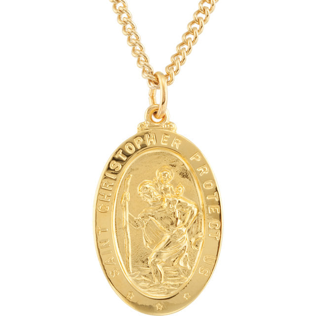 St Christopher 24 Karat Yellow Gold Plated Oval Necklace With Chain 29 X 18 MM
