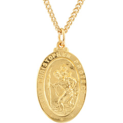 Solid 9ct Yellow Gold Oval St Christopher Pendant Necklace 18 20 22 24 ENGRAVE PERSONALISE