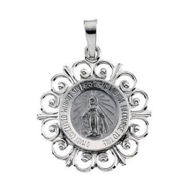 Fleur-de-Lis Round Miraculous Pendant in Solid 14 Karat White Gold 20 X 18 MM