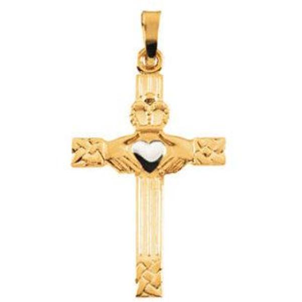 Two Tone Gold Claddagh Cross Pendant