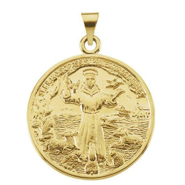 St Francis of Assisi Yellow Gold Medal 26 MM