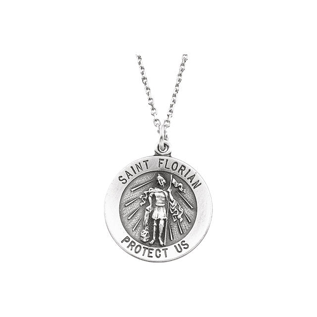 Round Saint Florian Necklace in Solid Sterling Silver Protect Us Medal