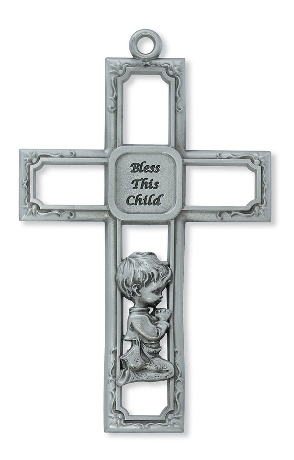 Praying Baby Boy Square Metal Wall Cross 6 Inches