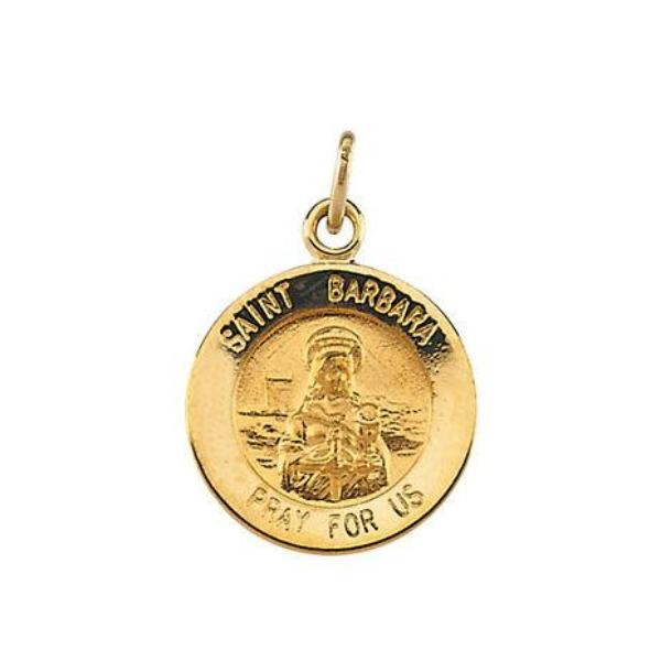 St Barbara Round 14kt Yellow Gold Medal