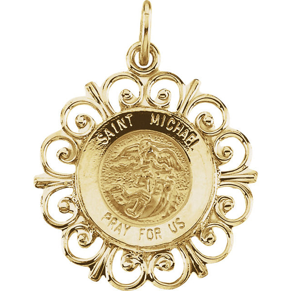 Saint Michael Fleur-de-lis Pendant in Solid 14 Karat Yellow Gold Pray for Us Medal 18 MM