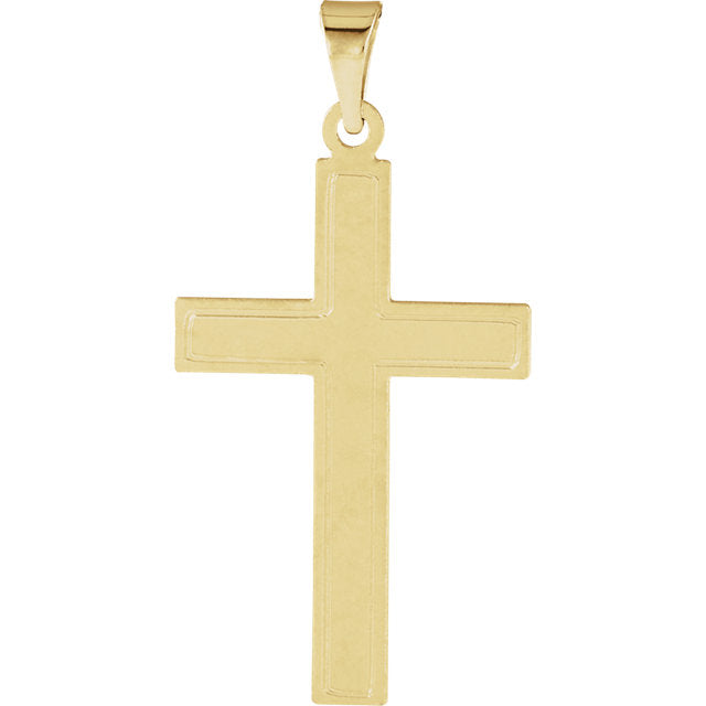 Elegant Cotised Cross in Solid 14 Karat Yellow Gold