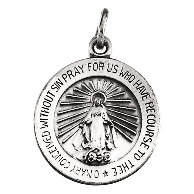 Round Miraculous Medal Pendant in Solid 14 Karat White Gold