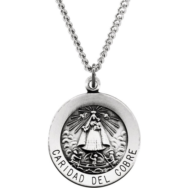 Caridad del Cobre Round Medal Pendant in Sterling Silver 18 MM