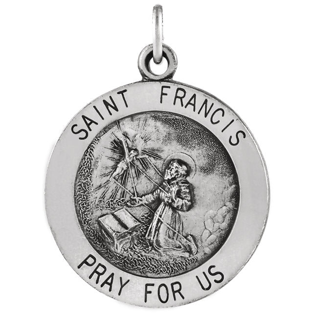 St Francis of Assisi Round Sterling Silver Medal Necklace 18 MM