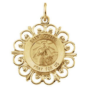 Elegant Saint Gerard Fleur-de-lis Pendant in Solid 14 Karat Yellow Gold Pray for Us Medal 18 MM