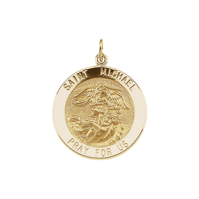 Round Saint Michael Pendant in Solid 14 Karat Yellow Gold Pray for Us Medal