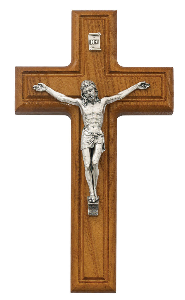 Thick Wall Cross Crucifix in Walnut Wood With Silver Color Corpis And INRI 10 Inch