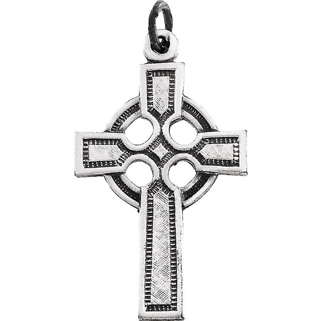 Celtic Cross Pendant in Solid 14 Karat White Gold