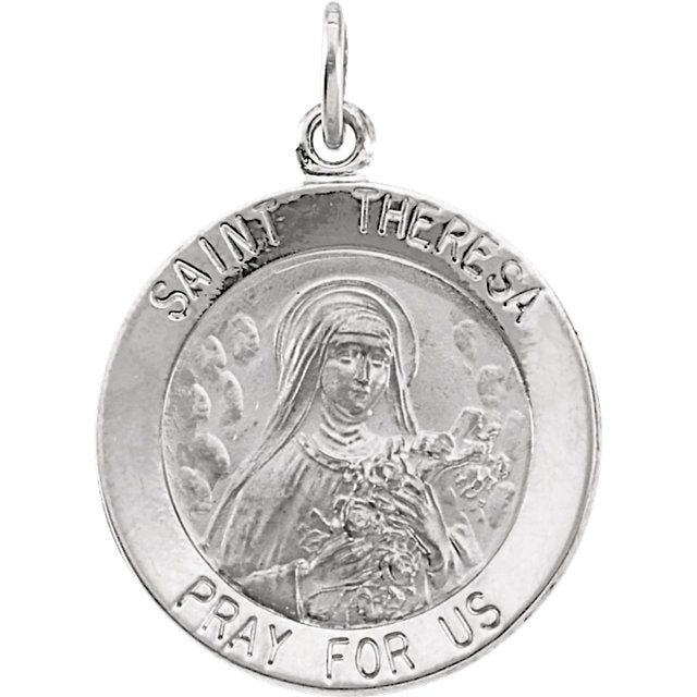 Round Saint Theresa Necklace in Solid Sterling Silver Pray for Us Medal