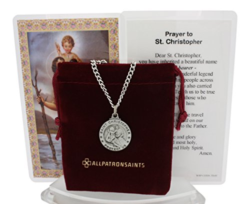 St Christopher Medal Prayer Card Set With Necklace - 24 inch Chain