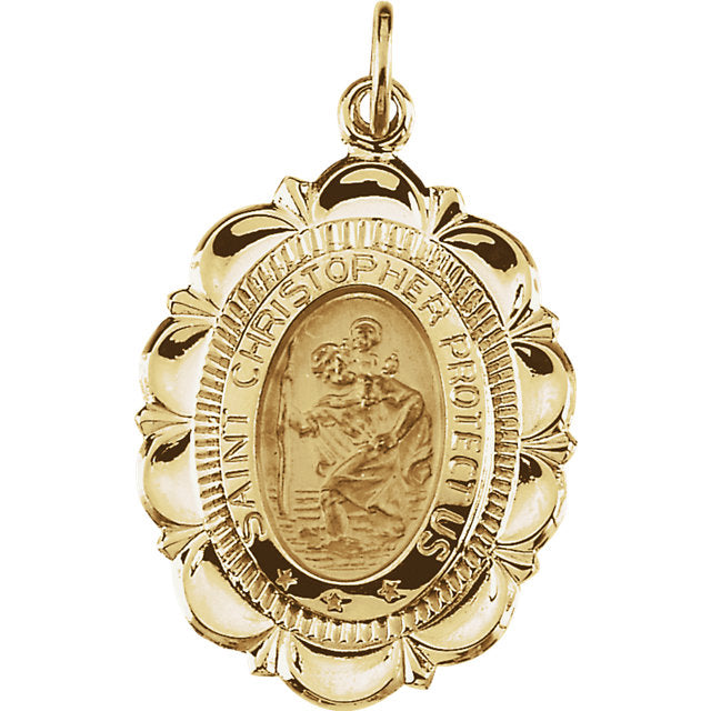 Saint Christopher Ribbon Pendant in Solid 14 Karat Yellow Gold Protect Us Medal 25 x 18 MM