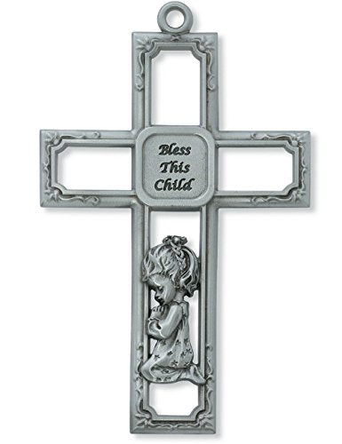 Praying Baby Girl Square Metal Wall Cross 6 Inches