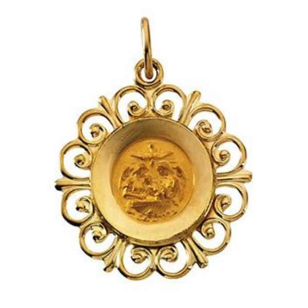 Round Fluer-De-Lis Baptismal Medal Pendant in Solid 14 Karat Yellow Gold 18 MM