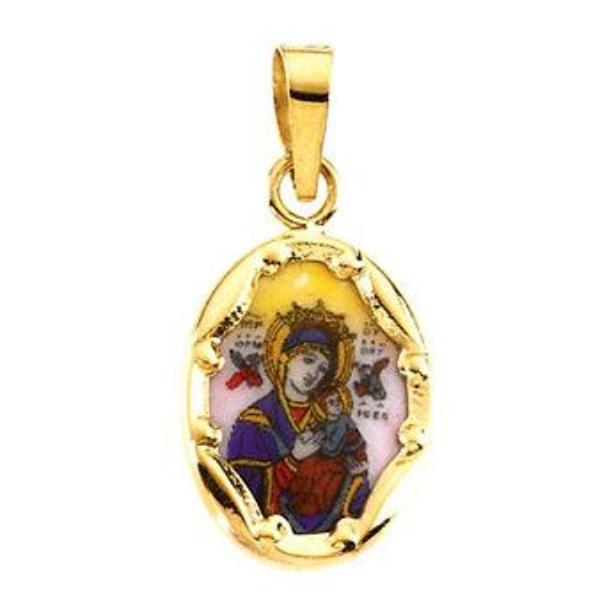 Our Lady of Perpetual Help Oval Hand-Painted Porcelain Medal Pendant in 14 Karat Yellow