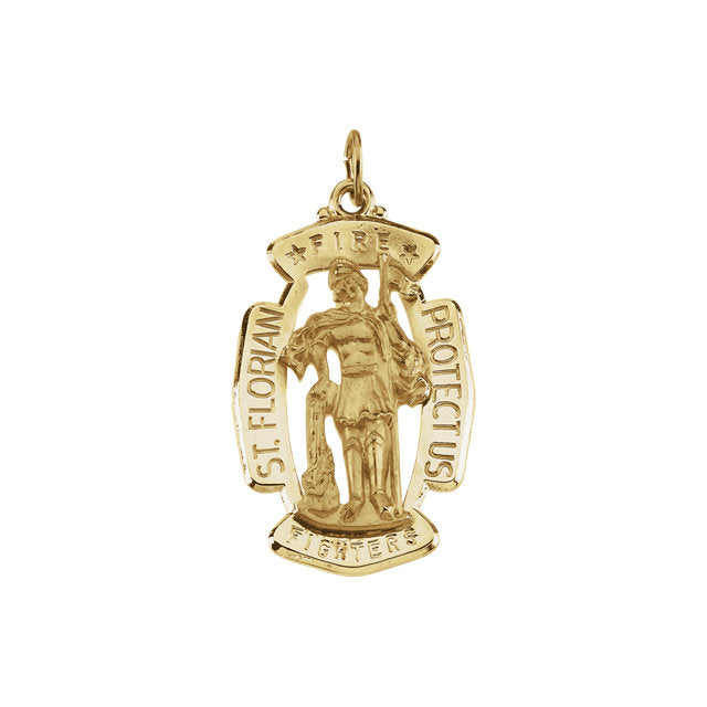 5f24c85ec99 Oval Saint Florian Fire Fighter Pendant in Solid 14 Karat Yellow Gold  Protect Us Medal 30