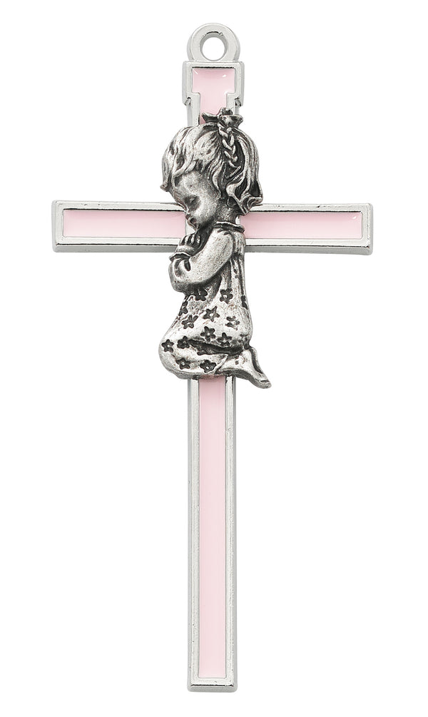 Pink With Silver Color Trim Praying Baby Girl Wall Cross 5 Inches